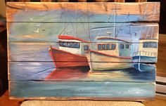 'Sitting Idle' - Acrylic on reclaimed wood - Kimberly Ropson Coastal Art, Newfoundland, Wood, Painting, Ideas, Madeira, Woodwind Instrument, Painting Art, Wood Planks
