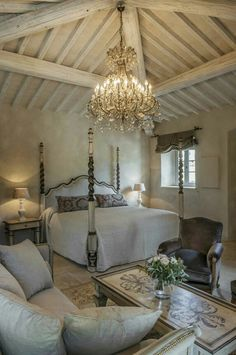 bedroom with elegant and rustic Dream Rooms, Dream Bedroom, Home Bedroom, Master Bedroom, Bedroom Decor, Swedish Decor, French Decor, French Country Decorating, Beautiful Bedrooms