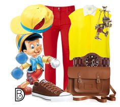 Pinocchio by leslieakay on Polyvore featuring polyvore, fashion, style, Forte Forte, Converse, The Cambridge Satchel Company, Earth, Disney Couture, Kate Spade, disney, disneybound, Pinocchio and disneycharacter