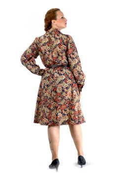 Classic 70s tailored floral dress in colorful by LaBellaEpoque, $65.00