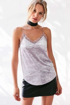 Kimchi Blue After Hours Velvet Lace Cami - Urban Outfitters