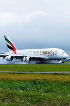 TR's deployed, Auto brake/anti skid operating for the smooth touchdown Airbus A380 Emirates, Emirates Airline, Commercial Plane, Commercial Aircraft, Dubai, Airplane Drone, International Civil Aviation Organization, Airline Cabin Crew, Luxury Private Jets