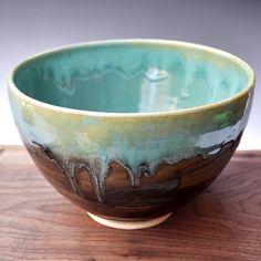 Ceramic bowl Noodle Bowl handmade pottery bowl//Farmhouse Morning Turquoise and Khaki Brown// wheel thrown stoneware. via Etsy.
