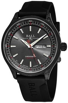 Ball Men's 'Engineer II Volcano' Black Dial Black Rubber Strap Day Date Swiss Automatic Watch Size: One Size Fits All Mens Watches Uk, Best Watches For Men, Stylish Watches, Cool Watches, Swiss Automatic Watches, Brown Leather Strap Watch, Panerai Watches, Rubber Watches, Online Watch Store