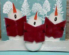 Snowman Chorus Pop Up Card (Stamp & Scrap with Frenchie)