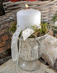 ARTEFINA, Windlicht,Pokal,Teelichthalter,Silber,Bauernsilber,Silberglas, Shabby