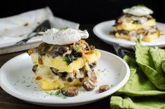 Spinach and Mushroom Polenta Stacks | The Flavor Bender