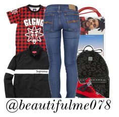 """""""Red and Black ."""" by beautifulme078 ❤ liked on Polyvore featuring MCM, NIKE, PhunkeeTree and Nudie Jeans Co."""