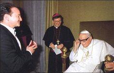 Pope John Paul II wearing Bono's sunglasses