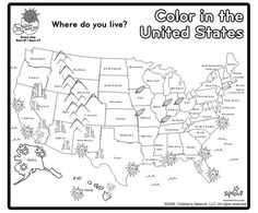 Print and color a map of the United States / We used this to color the states in which we have family. Samuel loved the details {ie. mountains, corn, etc}