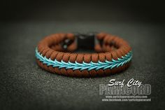 This fishtail paracord bracelet features 550 cord weaved around two inner 550 cores and accented with blue micro cord stitching. Perfect for those who like a thinner bracelet. Cord is USA made nylon c