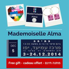 Among several selected Israeli artists, Mademoiselle Alma is pleased to introduce you its original jewelry (crafted from LEGO® bricks and crystals SWAROWSKI® on gold plated or silver plated findings) and to offer to the first visitors one of its creations, at the opening of the Exposition and December 5, 2014 (from 12:00) at the Cultural Center AMIAD - Amiad street 12 YAFO - at (TEL AVIV) YAFO #MademoiselleAlma #LEGO
