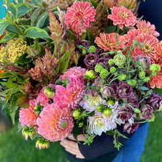 """This was a custom harvest in 'Earth tones' with peach added in. Our buckets of blooms include approximately 60 stems. We included a mix of foliages/greenery, accent flowers and """"feature"""" flowers, harvested from what is most beautiful and abundant in our flower field. These flowers come in buckets of water and typically fill 8-10 mason jars depending on how you design your arrangements. Water Bucket, Flower Farm, Buckets, Earth Tones, Stems, Dahlia, Greenery, Your Design, Harvest"""