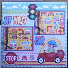 Premade 12x12 Paper Pieced Scrapbook Page My First Car Boy by Babs | eBay