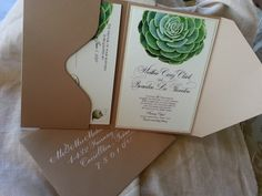 Succulent Wedding Invitation in Kraft Pouch with Dom Loves Mary calligraphy font by Debi Sementelli