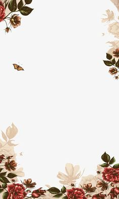 Hand-painted flowers border, background, flowers, hand-painted PNG and PSD