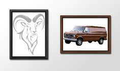 When I first started out as a Graphics Designer, one of the first lessons I learnt was how to use Adobe Illustrator. In order to practice my skills, I took images and recreated them, such as this Goat and 1986 Ford Econoline and Club Wagon vehicle.