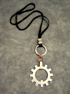 Mens Steampunk Necklace Leather Unisex Womens Large Cog Steam Punk. $35.00, via Etsy.