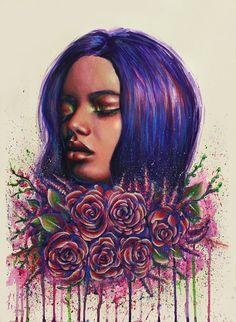 Рисунок акрилом на бумаге картина оригинал портрет девушки