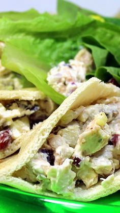 Creamy Chicken Salad (Cream Cheese Creamy)    What??? Cream Cheese in a Chicken Salad???  OF COURSE and it comes out a little sweeter, a lot creamier and delicious!  And it works GREAT as a Pita Stuffed sandwich!  Or especially works great for a Lettuce wrap with a broad leaf of Romaine Lettuce.  One of my favorite Chicken Salad Recipes ever!