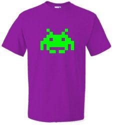 Neon Green Space Invader T-shirt