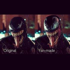 Which is better: original or fan-made? . #venom #tomhardy #marvel #marvelcomic #marvelentertainment #marveluniverse #rubenfleischer #superhero #symbiote #amorphous #spiderman #eddiebrock