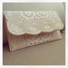 Not quite done, still need a clasp or fastener of some sort but what a great way to #upcycle a #crochetdoily ❤️ My sewing skills leave a lot to be desired these days but I managed to fumble through! Inspiration from pinterest 💕  #littlebirdie #vintage #clutch #laceclutch #handmade #celebratinghandmade #craftastherapy #madeinsouthaustralia #adelaidecreatives #adelaidehills #adelaideloves