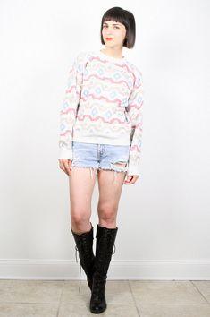 Vintage Southwestern Sweater 1990s 90s Pullover Grunge Jumper Navajo Striped Knit Beige Tan Pink Neutals Desert Boho Sweater Crew M Medium by ShopTwitchVintage #1990s #90s #etsy #vintage #sweater #southwestern #jumper #pullover #boho
