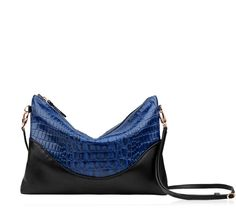 Small bag 'Baiser Vole': Classic blue Alligator-like leather. #Repetto #RepettoSmallLeatherGoods