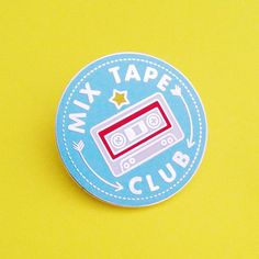 Mix Tape Club Pin Badges! What did you put on your mix tapes? This pin is 3cm in diameter and has a metal clutch back. Its made of hard enamel in