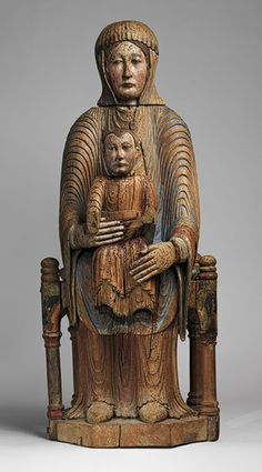 Virgin and Child in Majesty, 1150–1200  French; Made in Auvergne  Walnut with paint, gesso, and linen This type of sculpture, with the Christ Child seated in the Virgin's lap in a frontal pose, is known as a Sedes Sapientiae (Throne of Wisdom). These seemingly straightforward images convey complex theological ideas. Mary serves as Christ's throne.