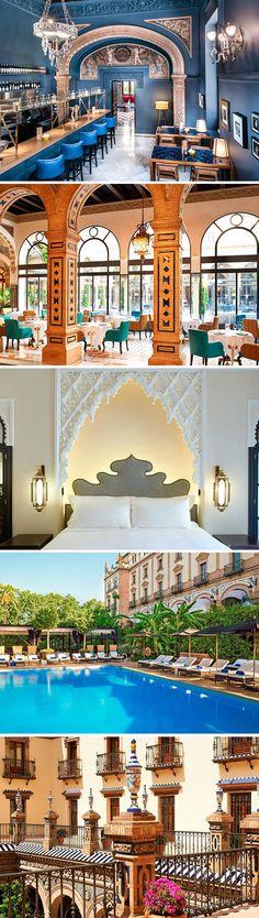 In luxe en in Andalusische stijl verblijven in de Spaanse stad Sevilla doe je in het Hotel Alfonso XIII. Ga je mee?