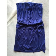Ella Moss Jersey Dress Strapless. Soft. Comfortable. Not sheer. Very flattering. The front of the skirt looks like a wrap skirt but the way it's made never shows to much leg. The front top part has draped folds or pleats. Great used condition with very light signs of wear due to normal use. Worn only twice. Ella Moss Dresses