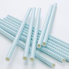 Party Ark's 'Chevron Divine Pastel Mint Paper Straws'