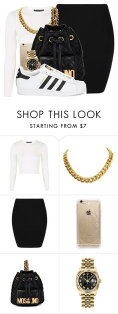 """""""If you see him in the streets give him Kanye's best..."""" by shilohluvsu ❤ liked on Polyvore featuring Topshop, CÉLINE, Boohoo, Rifle Paper Co, Moschino, Rolex and adidas Originals"""