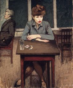 """Cafe Scene"" by Raphael Soyer, 1946"