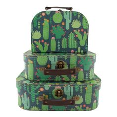 NEW Cactus Decorative Storage Boxes Set of 3 Suitcase Set- Great Price! Deco Cactus, Cactus Decor, Cactus Print, Suitcase Storage, Suitcase Set, Cactus Gifts, Decorative Storage Boxes, Decorative Paper, Sass & Belle