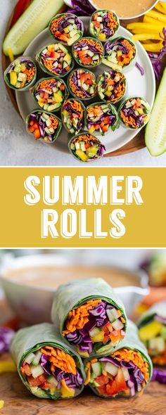 Easy Summer Rolls Recipe- this summer rolls are PACKED full of veggies and great as an appetizer or even as a meal. Perfect for healthy meal prep! Raw Food Recipes, Veggie Recipes, Lunch Recipes, Appetizer Recipes, Appetizers, Vegan Lunches, Vegetarian Lunch, Healthy Summer Recipes, Healthy Meal Prep