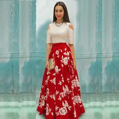 Red and White Semi Stitched Partywear Lehenga Choli for Women.