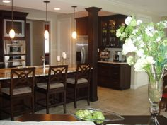 nice island with pillar. Trying out dark look Inspired Homes, Beautiful Kitchens, Cool Kitchens, Beautiful Kitchen Designs, Kitchen Remodel, Home Remodeling, Medallion Cabinets, Sweet Home, Kitchen Design