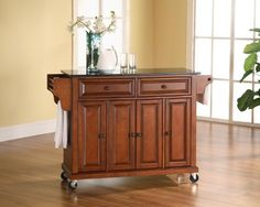 Crosley Furniture Solid Black Granite Top Kitchen CartIsland in Classic Cherry Finish >>> Want to know more, click on the image.Note:It is affiliate link to Amazon. #sanfrancisco