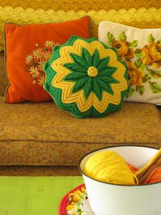 crochet pillows - luv this idea of needlepoint and crochet cushions mixed together. all in my living rooms colours. Vintage Pillows, Vintage Decor, Crochet Pillows, Granny Chic, Crochet Home, Vintage Crochet, Soft Furnishings, Needlepoint, Crochet Projects