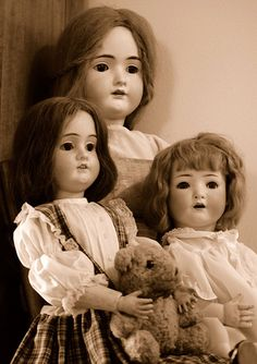 Antique Dolls--I've watched too many scary movies for these not to scare the crap out of me.
