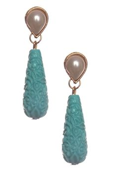 Indian Bollywood Designer Pearl Turquoise Gold Style Drop Earrings Jewelry Women #vidhijewelss #DropDangle
