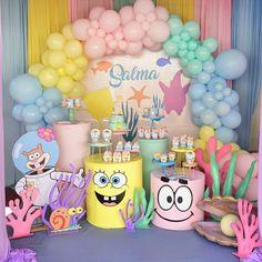 1st Birthday Party Themes, Happy Birthday, Birthday Cake, Event Themes, I Party, Party Ideas, Spongebob, Balloons, Baby Shower