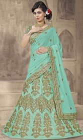 Turquoise Color Art Silk Embroidered Choli Skirt #cholidress #plussizelehengacholi Make understated elegance your signature style as you don this turquoise color art silk embroidered choli skirt. The lace amd resham work on attire personifies the total look. Upon request we can make round front/back neck and short 6 inches sleeves regular lahenga blouse also.  USD $ 244 (Around £ 168 & Euro 185)