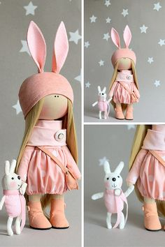 Rabbit doll handmade Cute doll Tilda doll white pink coral color Soft doll Cloth…