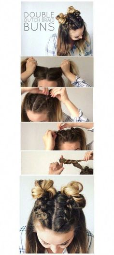 I'm super excited to show you how to do these adorable Double Dutch Braid Buns. I'm super excited to show you how to do these adorable Double Dutch Braid Buns! This half-up hairstyle is super trendy Dutch Braid Bun, Braid Buns, Dutch Braids, Messy Buns, Fishtail Plaits, Double Dutch Braid, Dutch Hair, Plaited Buns, How To French Braid