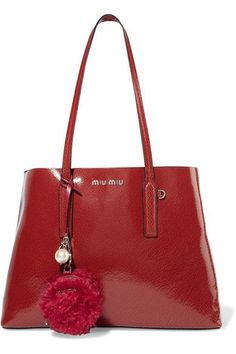 Miu Miu - Faux Pearl-embellished Shearling And Leather Keychain - Red - one size
