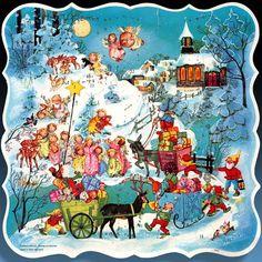 Antique Christmas Ornaments Paper and Spun Glass Advent Cards Adventskalender Adventkalender